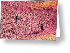 Hiking On The Cracked Purple Earth Greeting Card