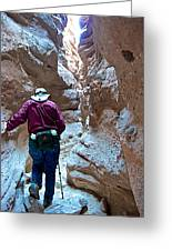 Hiking Through Narrow Slot Of Ladder Canyon Trail In Mecca Hills-ca Greeting Card