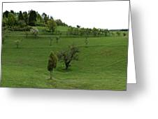 Hills And Fields Greeting Card