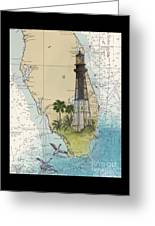Hillsboro Inlet Lighthouse Fl Cathy Peek Nautical Chart  Greeting Card