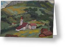 Hilltop Village Switzerland Greeting Card