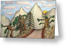 Himalaya Dharamkot Path Greeting Card by Elizabeth Stedman