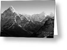 Himalaya Mountains Black And White Greeting Card