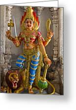 Hindu Goddess Durga On Lion Greeting Card
