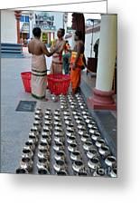 Hindu Priests Prepare Offering To Gods Greeting Card