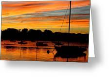 Hingham Sunset And Sailboats Greeting Card