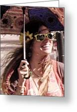 Hippie Chick Greeting Card by Sharon Costa