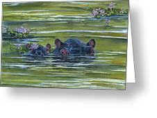 Hippos And Hyacinths Greeting Card