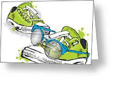 Hipster Sneakers With Glasses Vector Greeting Card