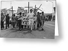 Hispanic Anti-viet Nam War March Tucson Arizona 1971 Black And White Greeting Card
