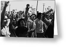 Hispanic Anti-viet Nam War Rally Tucson Arizona 1971 Black And White Greeting Card