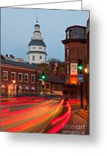Historic Annapolis And Evening Traffic I Greeting Card