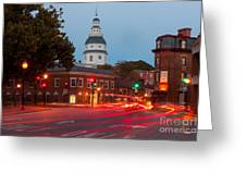Historic Annapolis And Evening Traffic II Greeting Card