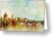 Historic Centre Of Prague  Greeting Card by Catf