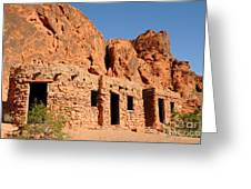 Historic Civilian Conservation Corps Stone Cabins In The Valley Of Fire Greeting Card