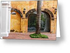 Historic Colonial Courtyard In Colombia Greeting Card
