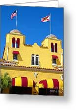 Historic Colony Hotel Twin Towers. Delray Beach Florida. Greeting Card