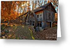 Historic Grist Mill With Fall Foliage Greeting Card