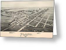 Historic Map Of Plano Texas 1891 Greeting Card