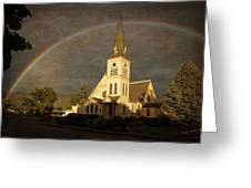 Historic Methodist Church In Rainbow Light Greeting Card