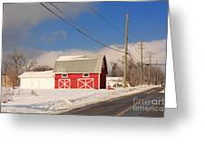 Historic Red Barn On A Snowy Winter Day Greeting Card