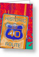 Historic Route 40 Pop Art Greeting Card