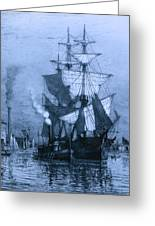 Historic Seaport Blue Schooner Greeting Card