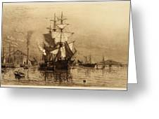 Historic Seaport Schooner Greeting Card