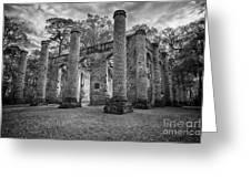 Historic Sheldon Church 5 Bw Greeting Card