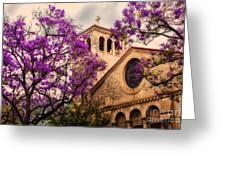Historic Sierra Madre Congregational Church Among The Purple Jacaranda Trees  Greeting Card