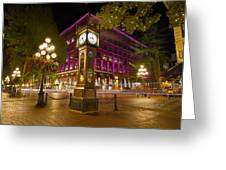 Historic Steam Clock In Gastown Vancouver Bc Greeting Card