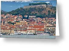 Historic Town Of Sibenik Panorama Greeting Card