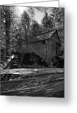 Historical 1868 Cades Cove Cable Mill In Black And White Greeting Card
