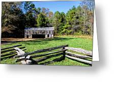 Historical Cantilever Barn At Cades Cove Tennessee Greeting Card by Kathy Clark