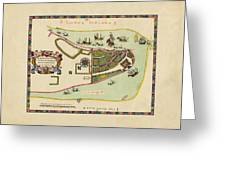Historical Map Of Manhattan 1661 Greeting Card