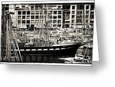 History In The Port Greeting Card by John Rizzuto