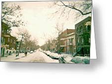Hiver Psc Winter In The Point Snowy Day Paintings Montreal Art Cityscenes Brick Houses Snowed In Greeting Card