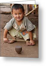 Hmong Boy Greeting Card by Adam Romanowicz
