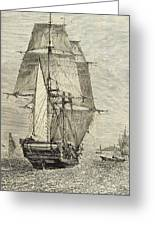 Hms Beagle In Phosphorescent Sea Greeting Card