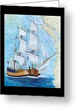Hms Endeavour Tall Sailing Ship Chart Map Art Peek Greeting Card