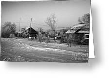 hoar frost covered street in small rural village of Forget Saskatchewan Canada Greeting Card