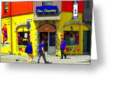 Hockey Art At Restaurant Chez  Claudette Plateau Montreal Sunny Street Scene Carole Spandau  Greeting Card