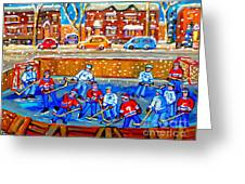 Hockey Art Collectible Cards And Prints Snowy Day  Neighborhood Rinks Verdun Montreal Art C Spandau Greeting Card