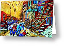 Hockey Art Montreal Winter Scene Winding Staircases Kids Playing Street Hockey Painting  Greeting Card by Carole Spandau