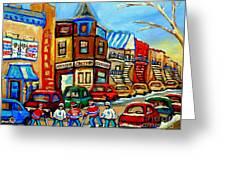 Hockey Art Montreal Winter Street Scene Painting Chez Vito Boucherie And Fairmount Bagel Greeting Card