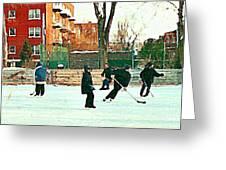 Hockey Art Shimmy Game Local Rink Montreal Paintings Winter Street Scene Verdun Art Carole Spandau Greeting Card
