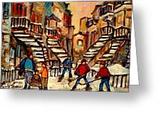 Hockey Game Near Winding Staircases Montreal Streetscene Greeting Card by Carole Spandau