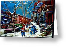 Hockey Game On De Bullion Montreal City Scene Greeting Card