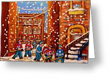 Hockey In The Laneway On Snowy Day Paintings Of Montreal Streets In Winter Carole Spandau Greeting Card