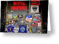 Hogs And Heifers Window Greeting Card
